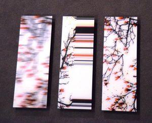 Galerie Ahlemann zeigt ein abstraktes Foto von NIcki Garz, welches aus drei Teilen besteht, die jeweils das gleiche Motiv in unterschiedlich abstrahierter Form in schwarz und rot auf weißem Untergrund zeigen.