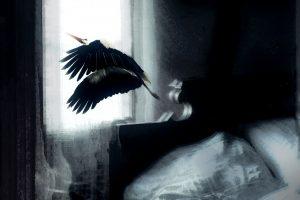 Galerie Ahlemann zeigt ein abstraktes Foto von Petra Jaenicke in überwiegend schwarzen und weißen Farbtönen, auf dem ein Storch zu sehen ist, der aus dem Fenster eines Schlafzimmers, ein Teil des Bettes ist auf dem Foto zu sehen, fliegt.