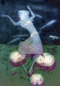 Galerie Ahlemann zeigt ein abstraktes Foto von Petra Jaenicke auf dem unscharf eine Frauenfigur zu sehen ist, die scheinbar von Blüte zu Blüte springt, während im Hintergrund ein Fischschwarm zu sehen ist.