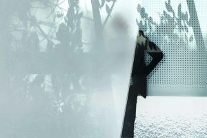 Galerie Ahlemann zeigt ein abstraktes Foto von Petra Jaenicke in schwarzen und weißen Farbtönen. Die linken zwei Drittel des Bildes werden durch eine weiße Fläche verdeckt, in der sich Blätter und Zweige reflektieren. Hinter dieser Fläche schaut von der linken Schulter abwärts ein Teil eine männliche Gestalt hervor. Hinter dem Mann schließt eine weiße Wand, die regelmäßige Perforierungen aufweist und ebenfalls Blätter und Zweige reflektiert den Hintergrund ab.
