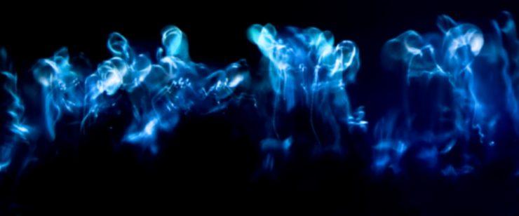 Galerie Ahlemann zeigt ein abstraktes Foto von Ralf Lindenau in der Kategorie Wahnmoves in verschiedenen Blautönen vor schwarzem Hintergrund
