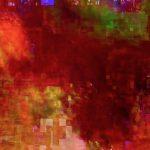 Galerie Ahlemann zeigt ein abstraktes Foto von Ralf Lindenau in überwiegend roten Farbtönen.