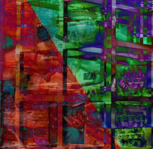 Galerie Ahlemann zeigt ein abstraktes Foto der Fotokünstlerin Hasina Khan in überweigend roten, grünen und violetten Farbtönen auf dem schemenhaft ein Ausschnitt einer Hochhausfassade zu erkennen ist, der mit Aufnahmen von übergroßen Fischen collagiert ist.