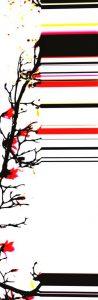 Galerie Ahlemann zeigt ein abstraktes Foto der Fotokünstlerin Nicki Garz in schwarzen und roten Farben vor weißem Hintergrund, welches einen abstrahierten Magnolienzweig mit nach rechts auslaufenden Farbstreifen darstellt.