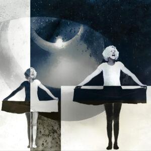 """Galerie Ahlemann zeigt ein abstraktes Foto von Petra Jaenicke aus der Konzeptreihe """"Stay Loose"""", die eine gedoppelte Frauenfigur vor einer abstrakten, schwarz-weißen Bildkomposition zeigt."""