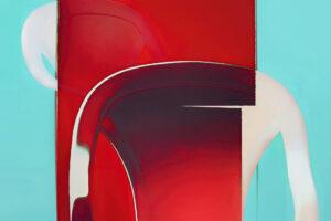 """Galerie Ahlemann zeigt ein abstraktes Foto von Petra Jaenicke aus der Konzeptreihe """"Ein Stuhl ist ein Stuhl"""" in weißen, roten und hellblauen Farben."""