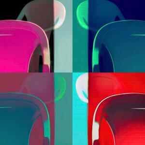 """Galerie Ahlemann zeigt ein abstraktes Foto von Petra Jaenicke aus der Konzeptreihe """"Ein Stuhl ist ein Stuhl"""" in bunten Farben, welches aus vier quadratischen Stuhlmotiven besteht."""