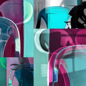 """Galerie Ahlemann zeigt ein abstraktes Foto von Petra Jaenicke aus der Konzeptreihe """"Ein Stuhl ist ein Stuhl"""" in überwiegend grauen, violetten und helltürkisen Farbtönen, das aus verschiedenen Motiven der Reihe collagiert ist."""