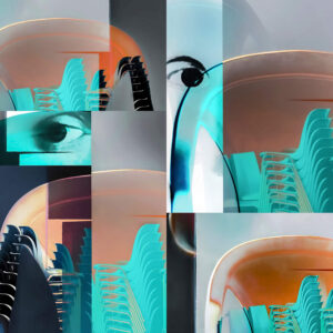 """Galerie Ahlemann zeigt ein abstraktes Foto von Petra Jaenicke aus der Konzeptreihe """"Ein Stuhl ist ein Stuhl"""" in überwiegend grauen, orangen und helltürkisen Farbtönen, das aus verschiedenen Motiven collagiert ist."""