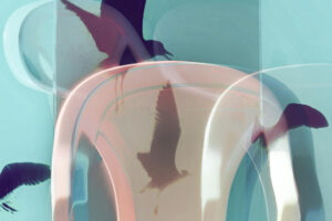 """Galerie Ahlemann zeigt ein abstraktes Foto von Petra Jaenicke aus der Konzeptreihe """"Ein Stuhl ist ein Stuhl"""" in hellrosa und violetten Farbtönen sowie Vogelsilhouetten vor einem hellblauen Hintergrund."""