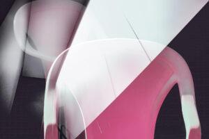 """Galerie Ahlemann zeigt ein abstraktes Foto von Petra Jaenicke aus der Konzeptreihe """"Ein Stuhl ist ein Stuhl"""" in weißen und rosafarbenen Tönen vor einem dunklen Hintergrund."""