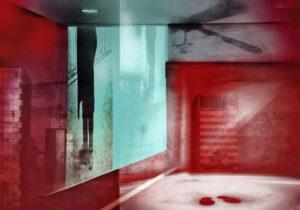 Galerie Ahlemann zeigt ein abstraktes Foto von Petra Jaenicke überwiegen roten und hellen Farbtönen auf dem eine Männersilhouette,, ein Deckenventilator und rote Fußabdrücke zu sehen sind.