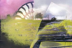 Galerie Ahlemann zeigt ein abstraktes Foto von Petra Jaenicke auf dem in gelben, weißen, hellvioletten und schwarzen Farbtönen Strukturen und Formen in einer abstrakten Landschaft zu sehen sind.