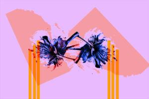 Galerie Ahlemann zeigt ein abstraktes Foto des Fotokünstlers Thomas Bienert auf dem zwei Blüten in blauen Farbtönen vor einem rosafarbenen Hintergrund angeordnet sind und in der linken sowie rechten Bildhälfte durch jeweils drei gelbe Streifen durchbrochen sind.