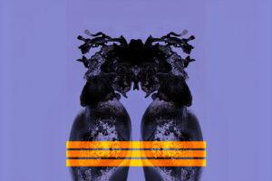 Galerie Ahlemann zeigt ein abstraktes Foto des Fotokünstlers Thomas Bienert auf dem ein florales, gespiegeltes schwarzes Gebilde vor einem blau-grauen Hintergrund zu sehen, dass mittig im unteren Bereich von drei gelb-orangen Linien überlagert wird.